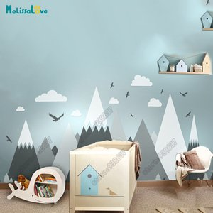 Wholesale Big Baby Room Decal Adventure Theme Decor Huge Mountain Cloud Bird Nursery Kid Room Removable Vinyl Wall Sticker Jw373 Q190416