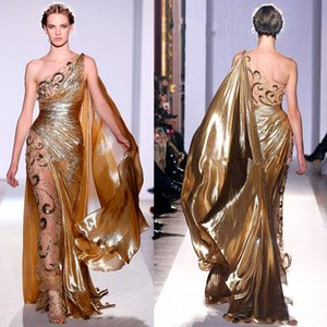High Quality Appliques Gold Evening Dresses 2019 New Design Long Mermaid One Shoulder Sheer Vintage Pageant Prom Gowns on Sale