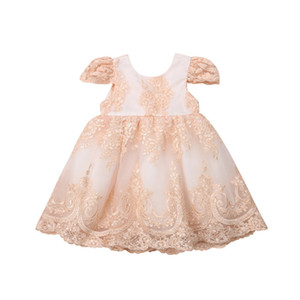 Wholesale Formal Embroidery Lace Golden Dress Princess Evening Partywear Baby Girls Back Big Bow Knot Flower Dresses Ball Gown Vestidos