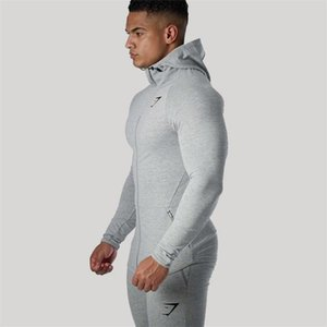 2019 new fashion Muscle Brothers Men's Sports Running, Body-building, Long-sleeved Topcoat, Hat Guard, Zipper Shirt gym hoodies coat on Sale