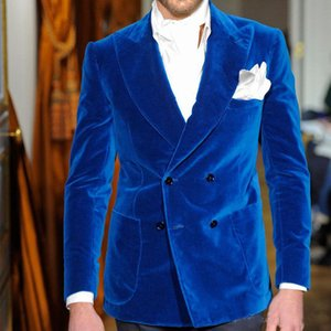 Wholesale Two Piece Royal Blue Velvet Men Suits Classic Style Double Breasted Wedding Groom Tuxedos Jacket Black Pants Prom Suits