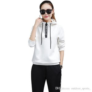 Wholesale sports running clothes fitness new Korean version of the sportswear suit women's casual long-sleeved slim sweater two sets of tide
