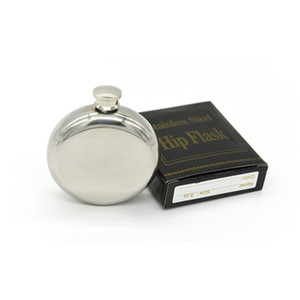 5OZ Mirror Smooth Men Portable Stainless Steel Portable Round Flagon Small Funnel Pocket Flagon Hip Flasks
