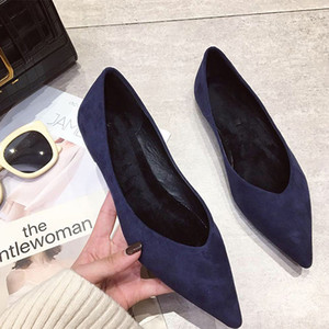 Wholesale Women Flats Spring Autumn Fashion Suede Pointed Toe Concise Solid Color Ballet Flats Dates Outdoor Street Casual Shoes