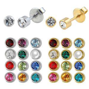 Stainless Steel Crystal Ear Piercing Studs Birthstone Stud Earring Piercing Body Jewelry Ear Tragus Helix Cartilage 12pairs T7190617