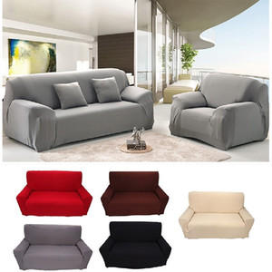 1 2 3 4 Seater Sofa Cover Spandex Modern Elastic Polyester Solid Couch Slipcover Chair Furniture Protector Living Room 6 Colors