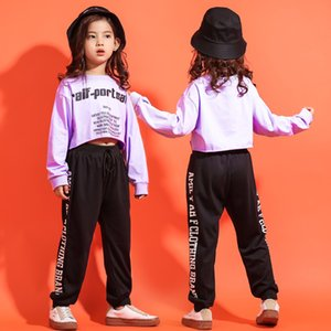 Wholesale Girls Hip Hop Crop Top Loose Shirt Casual Pants Dance Clothes Jazz Dance Costume for Kids Ballroom Dancing Clothing Streetwear