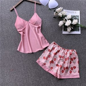 Wholesale Summer Women Pajama Set Pink Heart Shape Dot Print Satin Lace Silk Print Camisole Shorts Set Sleepwear Lingerie Home