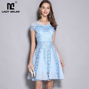 Wholesale Lady Milan Women s V Neck Short Sleeves Embroidery Lace Patchwork Fashion Homecoming Runway Dresses