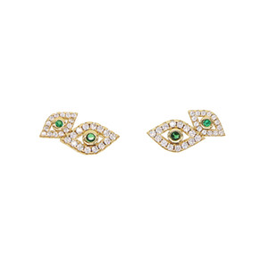 Wholesale chic Pair Fashion jewelry for Girl Women European double Turkey Evil Eye Stud Earring paved green clear CZ Party Gift