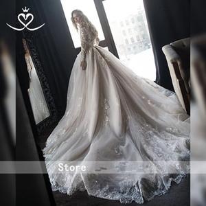 Ball Gown Long Sleeve Wedding Dresses Crystal Bridal Gowns Long Train Princess Wedding Gowns Vestidos De Novia country Wedding Dress