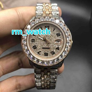 Full iced out two tone watch men's automatic diamonds rose gold watches 40mm diamonds dial works smooth hands wristwatch new style watch