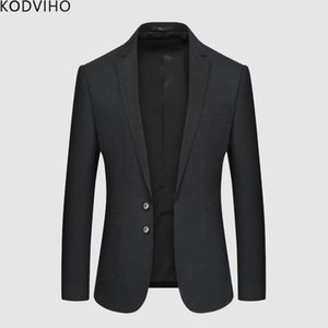 Wholesale Mens Blazer Jacket Casual Slim Fit Men Blazers Korean Style Autumn Solid Coat Blue Black Cotton Business Jacket Formal Clothing