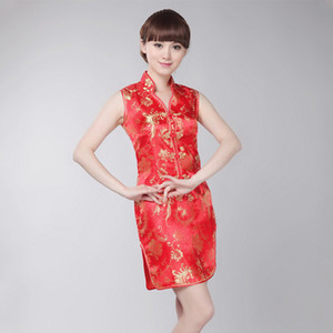 Wholesale Sleeveless Tight Women Evening Party Dress Summer New Red Cheongsam Sexy Novelty Mini Qipao Traditional Vestidso Plus Size XL