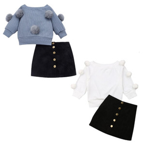 Boutque Girl Clothes 2019 Toddler Baby Kids Girls Hairball Knit Tops+Button Mini Skirt Autumn Warm Outfits Sets V191115 V191116 on Sale