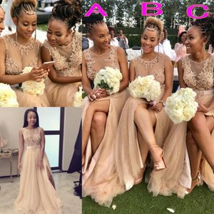 African Split Front Bridesmaid Dresses With Sash Sheer Neckline Jewel Pearl Beads Tulle Wedding Party Gowns Tulle Maid Of The Honor Dress on Sale