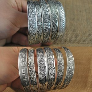 Wholesale HOTSALE Antalya Bangles Antique Silver plate Mixed Pattern Statement Boho Coachella Festival Turkish totem jewelry Tribal Ethnic FREE SHIP P
