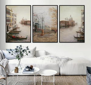 Wholesale Water City Landscape Canvas Paintings Modular Pictures Wall Art Canvas for Living Room Decoration No Framed
