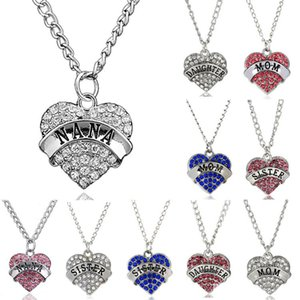 Wholesale mother daughter pendants necklaces for sale - Group buy 10 style Mother Day gift Mom Daughter Sister Grandma Nana Aunt Family Necklace Crystal Heart Pendant Rhinestone necklace jewelry