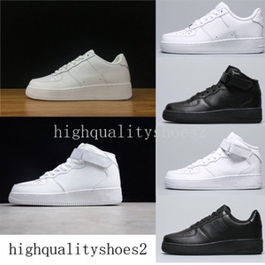 Wholesale Running Shoes Classical All White black gray low high cut men women Sports sneakers one skate Shoes US