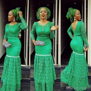 2020 Aso Ebi Green Mermaid Evening Dresses Lace Long Sleeves Evening Gowns Saudi Arabic Floor Length Prom Dresses Plus Size on Sale
