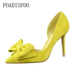 Designer Dress Shoes POADISFOO Spring Sweet high heel women fine shallowly pointed toe suede hollow butterfly knot women .DS-519-1