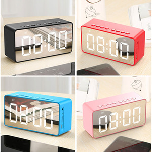 Wholesale clock cards for sale - Group buy Wireless Bluetooths Speaker Subwoofer Mirror LED Alarm Clock Portable LoudSpeaker Bedside Bass Box Speaker Support AUX FM TF Card