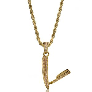 Wholesale 18K Gold Plated Pendant Necklaces Jewelry Luxury Fashion High Quality Bling Zircon Micro Paved Razor Style Hip Hop Necklace LN159