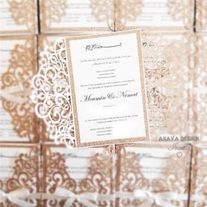 Elegant Rose Gold Glitter Wedding Invitations With Customized Glitter Insert And White Ribbon, Free Printing and Free shipping