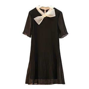 Wholesale Plus Size Dress summer Bow Pleated Womens Dress Classic A line Dress Fashion Casual Mini Dresses