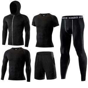 Wholesale Gym Men's Running Fitness Sportswear Athletic Physical Training Clothes Suits Workout Jogging Sports Clothing Tracksuit Dry Fit SH190717