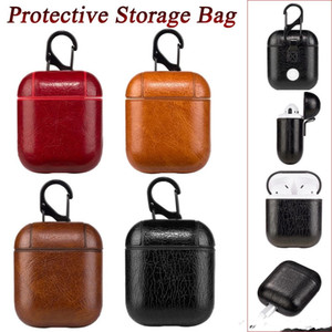 Wholesale Genuine Leather Shock Proof Protective Cover Case Skin For Apple AirPods Earphones Handmade with Hooks