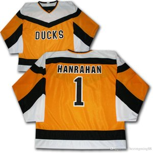 Slap Shot Movie DUCKS #1 HANRAHAN Ice Hockey Jersey Mens Embroidery Stitched Customize any number and name Jerseys on Sale