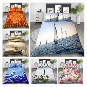 Wholesale 3D Print flowers Bedding Set Twin Full Queen Size Bed Set with animals orange color of Quilt Cover