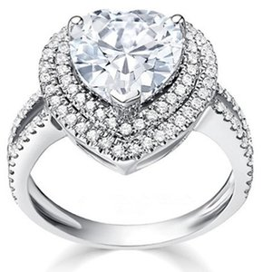 Test as Real F VS1 Solid 14K White Gold Jewelry Heart Halo Ring 1CT Moissanite Engagement Heart Diamond Ring for Women 14k Gold