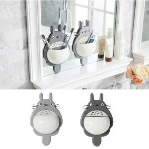 Wholesale Cartoon Totoro Toothbrush Holder Cartoon Cute Wall Mount Hanging Sucker Suction Storage Rack Bathroom Supplies OOA6311new