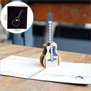 Wholesale 3D cardboard toys stereo gift cards guitar pattern greeting card d designs creative small birthday card paper cut for decoration