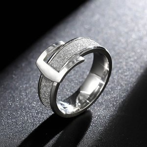 Wholesale 6mm Stainless Steel Scrub Ring Wedding Engagement Buckle Rings For Women