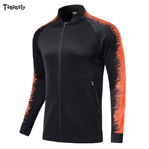 Wholesale football team jackets resale online - Men tracksuit football Jacket Zipper soccer for team training sport Jackets Football Shirts Jerseys adult futbol training top