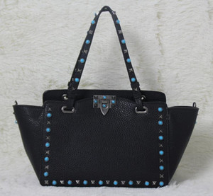 high quality~ w332 s l genuine leather gem stud tote shopping bag black on Sale