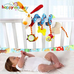 Wholesale Baby Plush Rattle Crib Spiral Hanging Mobile Infant Stroller Bed Animal Toys Gift For Newborn Children Months Happy Monkey Q190604