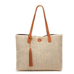 2019 new south Korean women's fashion beach grass woven simple shoulder bag on Sale