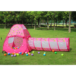 Wholesale 1 m Glowworm Pop Up Tunnel Toy Play Tent Hut Baby Playhouse Developmental Crawling Adventure Tunnel Games Pink