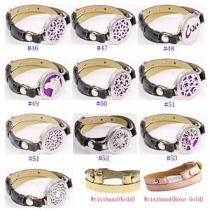 Fashional Essential Oil Diffuser Bracelet Aromatherapy Perfurm Diffuser Locket Cuff Set With PU Leather Wrist Band Wholesale 54styles