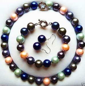 Wholesale natural sea shell jewelry resale online - Women Gift word Love women Fashion Jewelry Rare mm Natural Mix Colors Sea Shell Pearl Necklace Bracelet Earrings Set