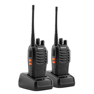 2pcs Set BF-888S 5W 400-470MHz 16-CH Wired Handheld Walkie Talkies interphone Intercom with earphones Black Color