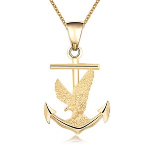 Wholesale JEWELRYGIFT Jewelry Punk Long Chain Hiphop Eagle Women Necklace US Navy Hawk On Anchor Trendy Angel Wings Pendant Necklace