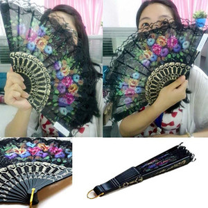 Wholesale Spanish Flower Floral Fabric Lace Folding Hand Dancing Wedding Party Decor Fan