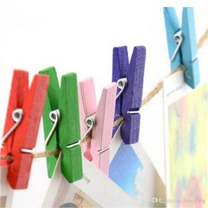 Wholesale cute wooden pegs resale online - 100 Colored Wooden Clip Christmas Decor Cute Cactus Unicorn Memo Paper Clips Stationery Clothespin Craft Clips Pegs