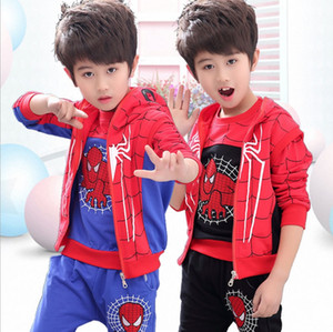 Wholesale Children's Wear Spider-Man Set Children's Long Sleeve Sports Clothes 2019 Spring and Autumn Wear Cotton Boys Tide Casual Three-piece Set